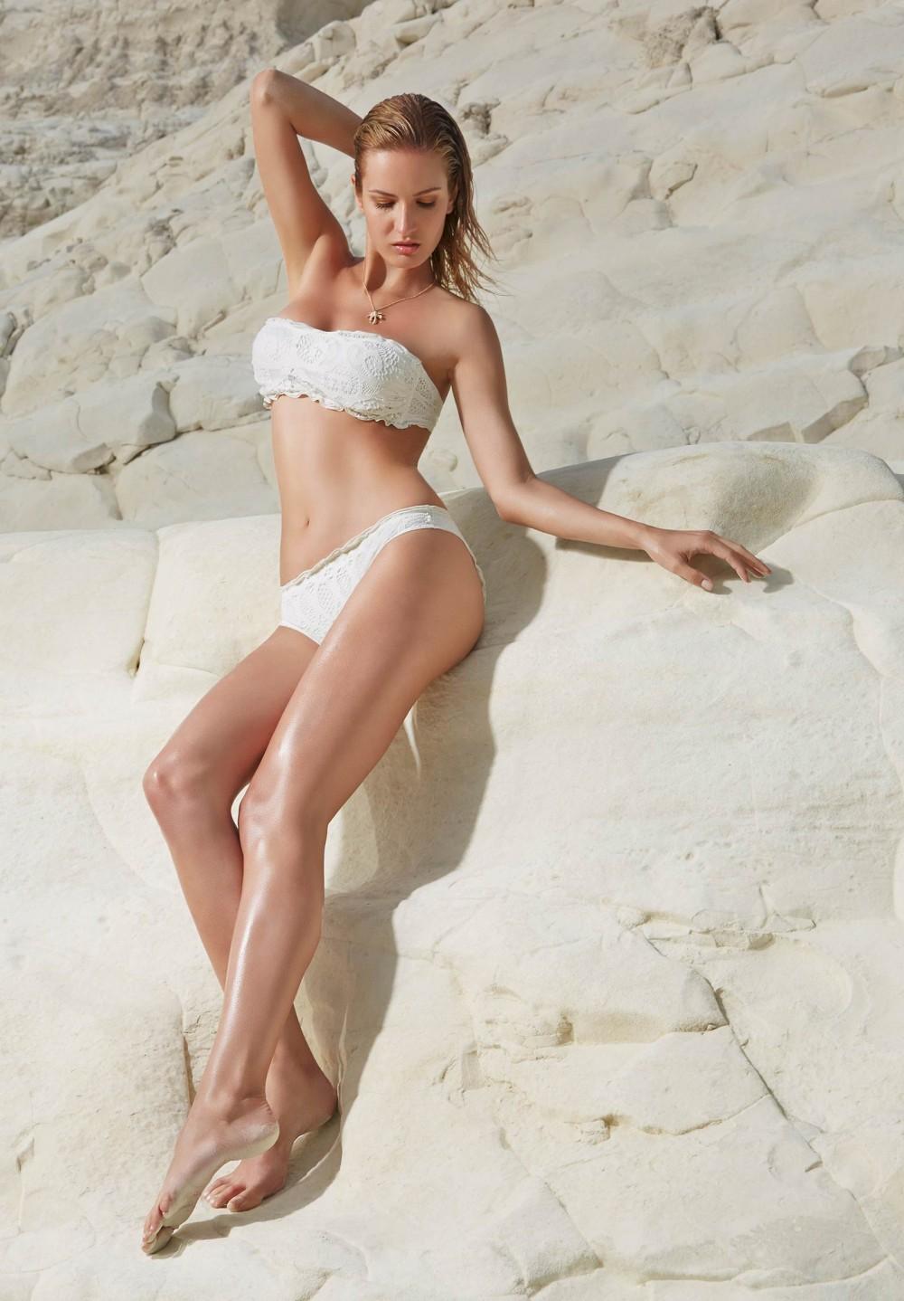 bikini a fascia in pizzo avorio