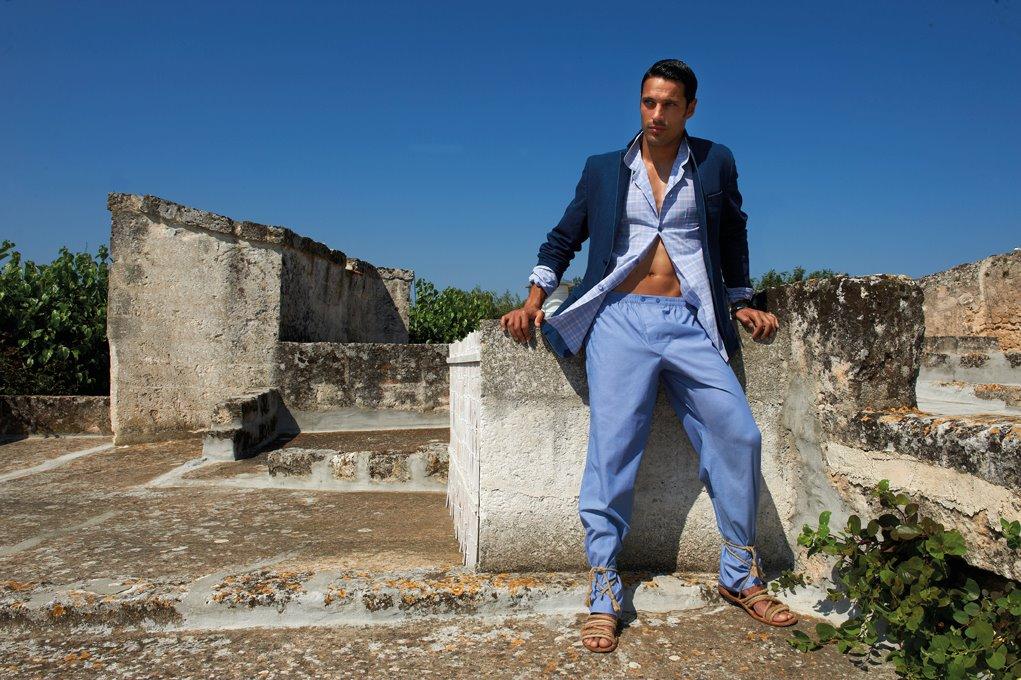 PEROFIL pigiama uomo puro cotone e vestaglia