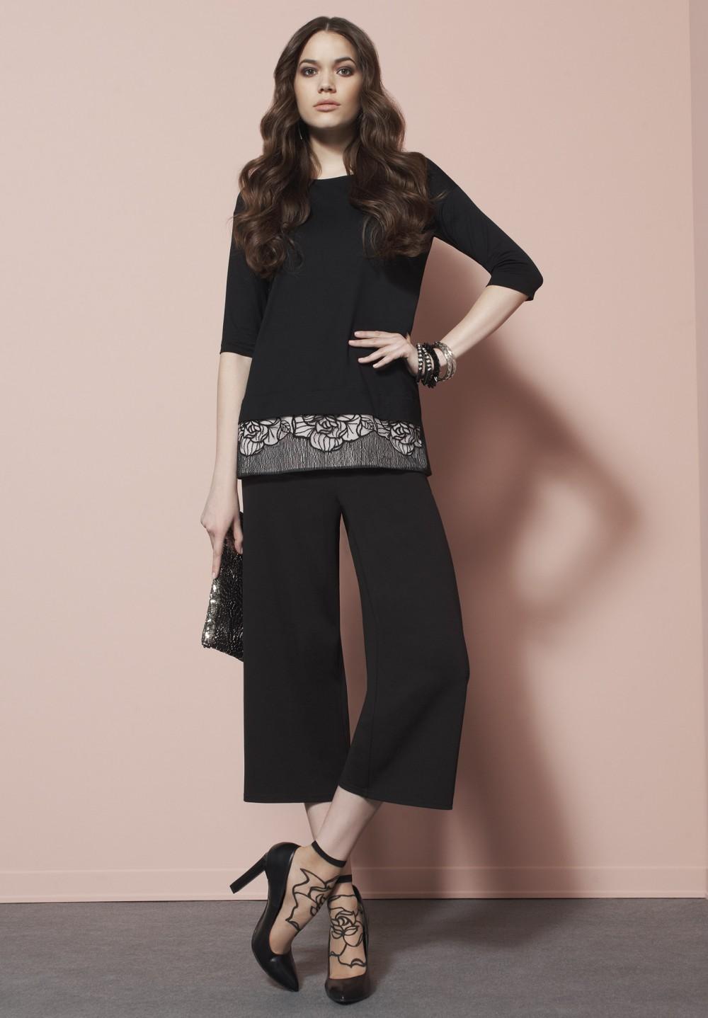 maglia manica 3/4 nero