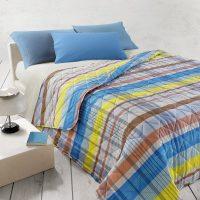 copriletto trapuntato leggero in cotone Gabel fantasia geometrica tonalità arancio/azzurro