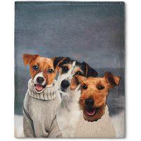 Plaid pile Maryplaid con stampa cani e ricamo