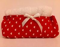 Set asciugamani lavette con cestino in cotone cuoricini