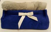 Set asciugamani lavette con cestino in raso di cotone
